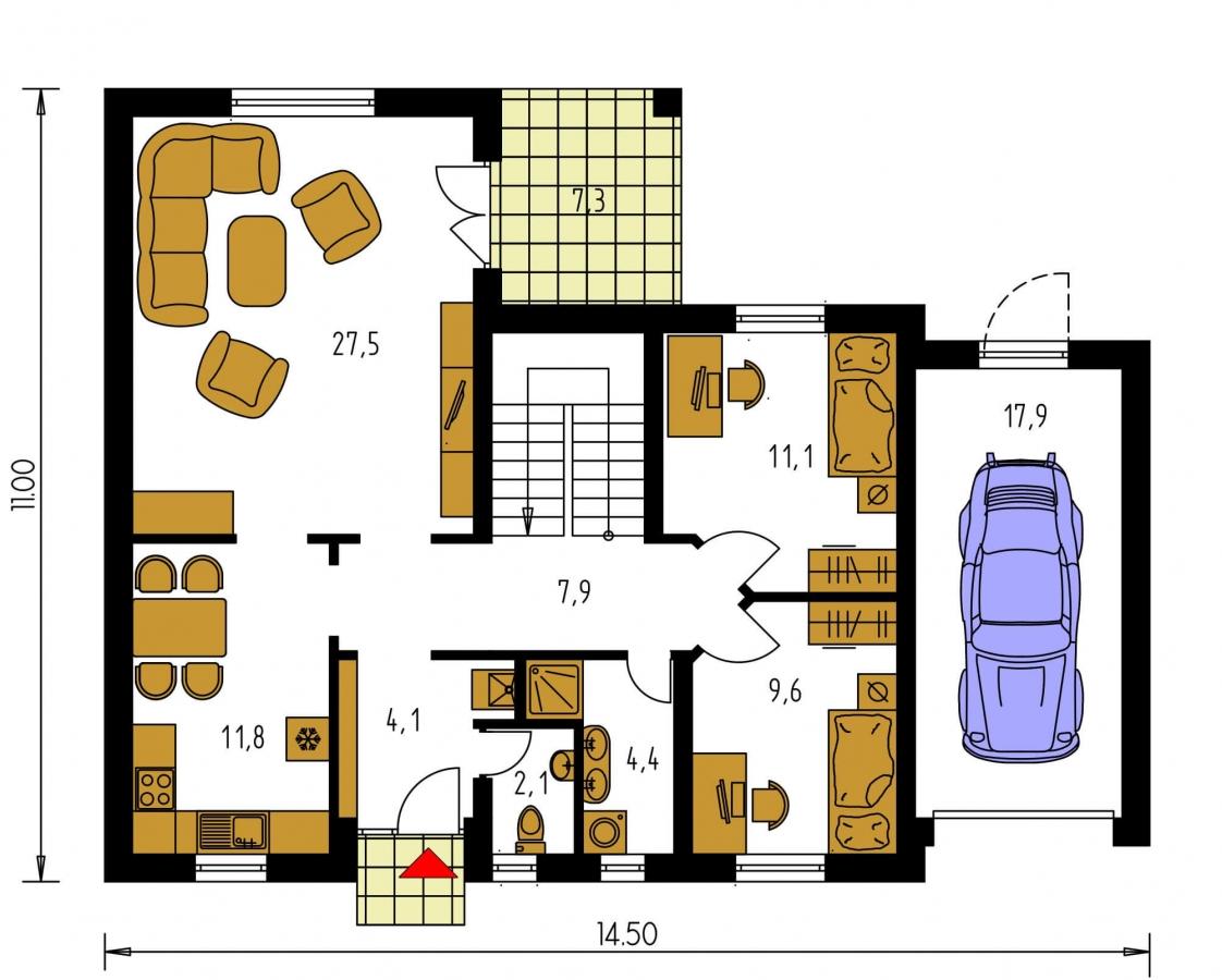 Pôdorys Prízemia - Veľký rodinný dom s garážou.