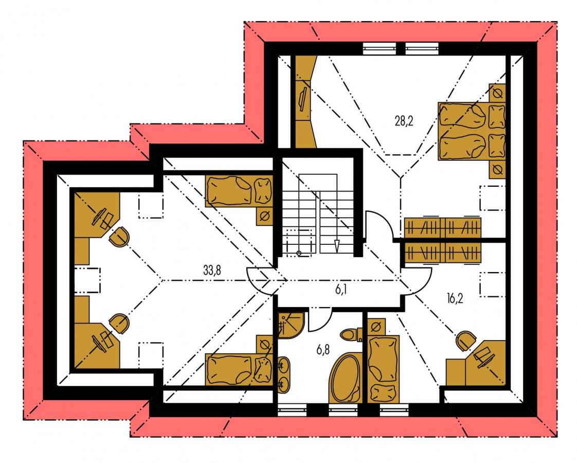 Pôdorys Poschodia - Veľký rodinný dom s garážou.