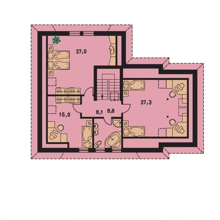 Pôdorys Poschodia - Veľký rodinný dom s garážou