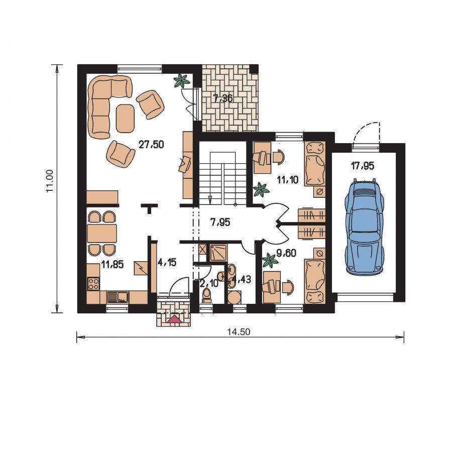 Pôdorys Prízemia - Veľký rodinný dom s garážou