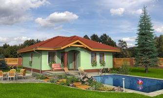 Prízemný rodinný dom pre menšiu rodinu.