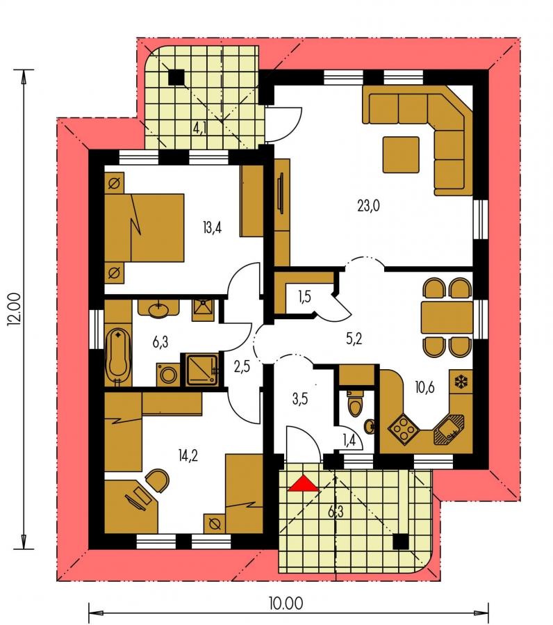 Pôdorys Prízemia - Prízemný rodinný dom pre menšiu rodinu.