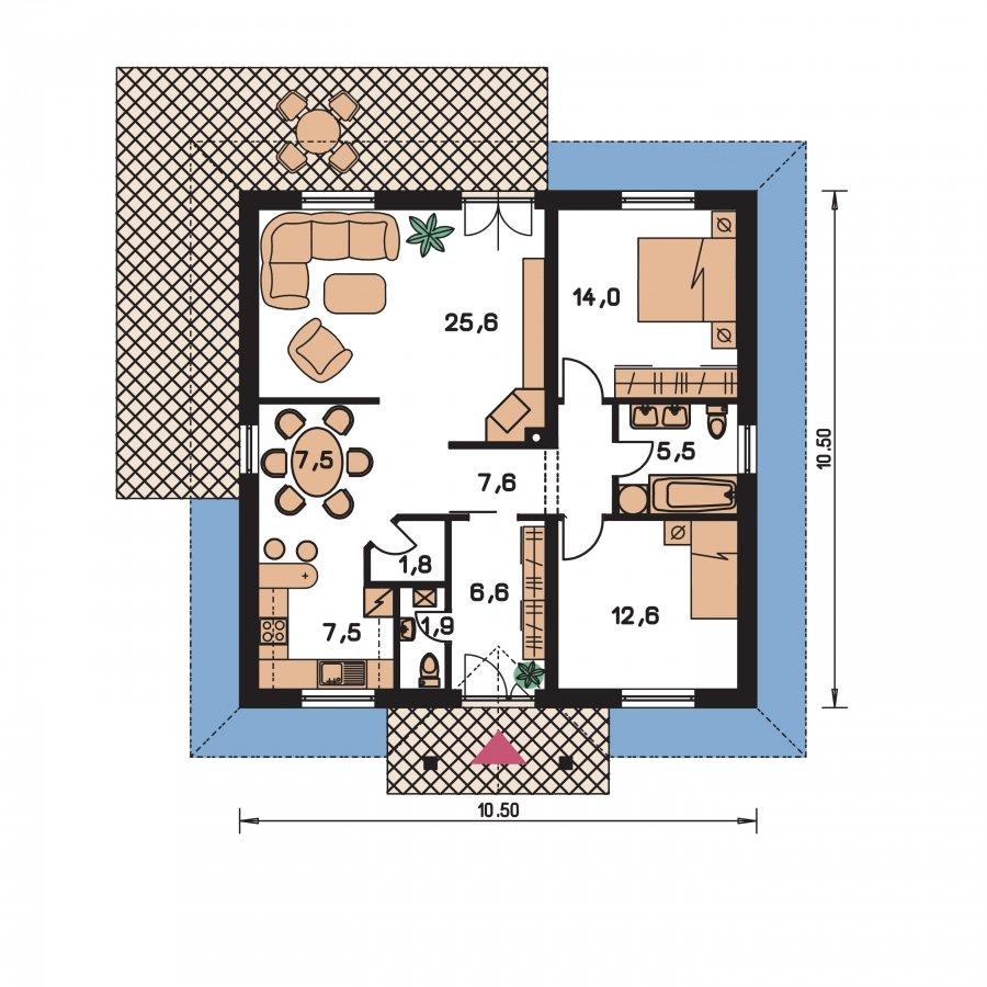 Pôdorys Prízemia - Rodinný dom so stanovou strechou