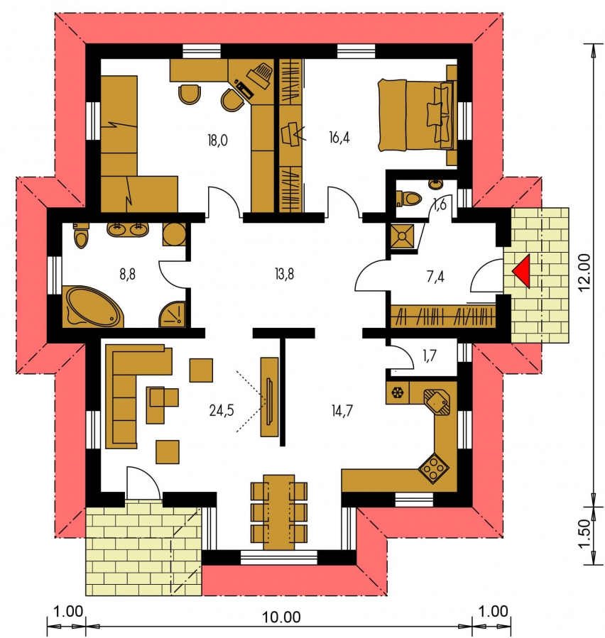 Pôdorys Prízemia - Patrí medzi obľúbené projekty rodinných domov pre menšie rodiny.