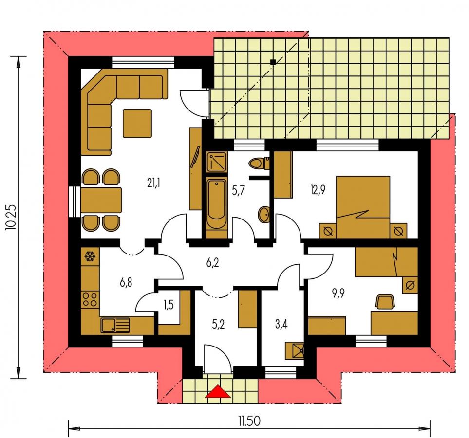 Pôdorys Prízemia - Dom do tvaru L s valbovou strechou.