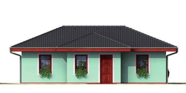 Pohľad 1. - Dom do tvaru L s valbovou strechou.