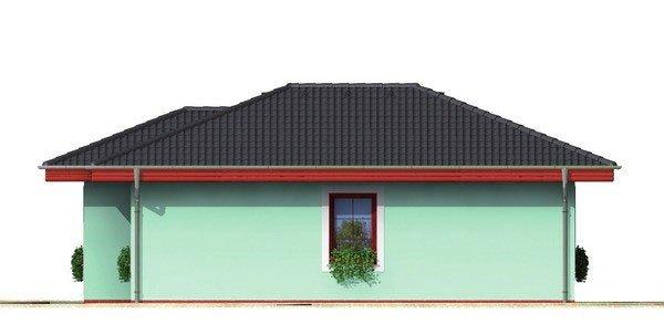Pohľad 2. - Dom do tvaru L s valbovou strechou.