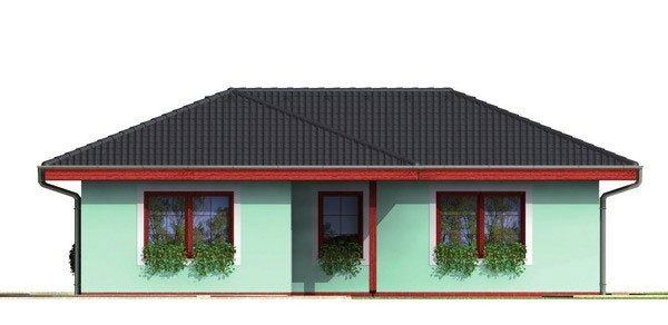 Pohľad 3. - Dom do tvaru L s valbovou strechou.