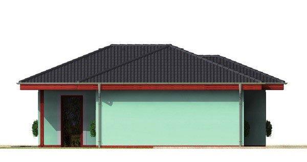 Pohľad 4. - Dom do tvaru L s valbovou strechou.