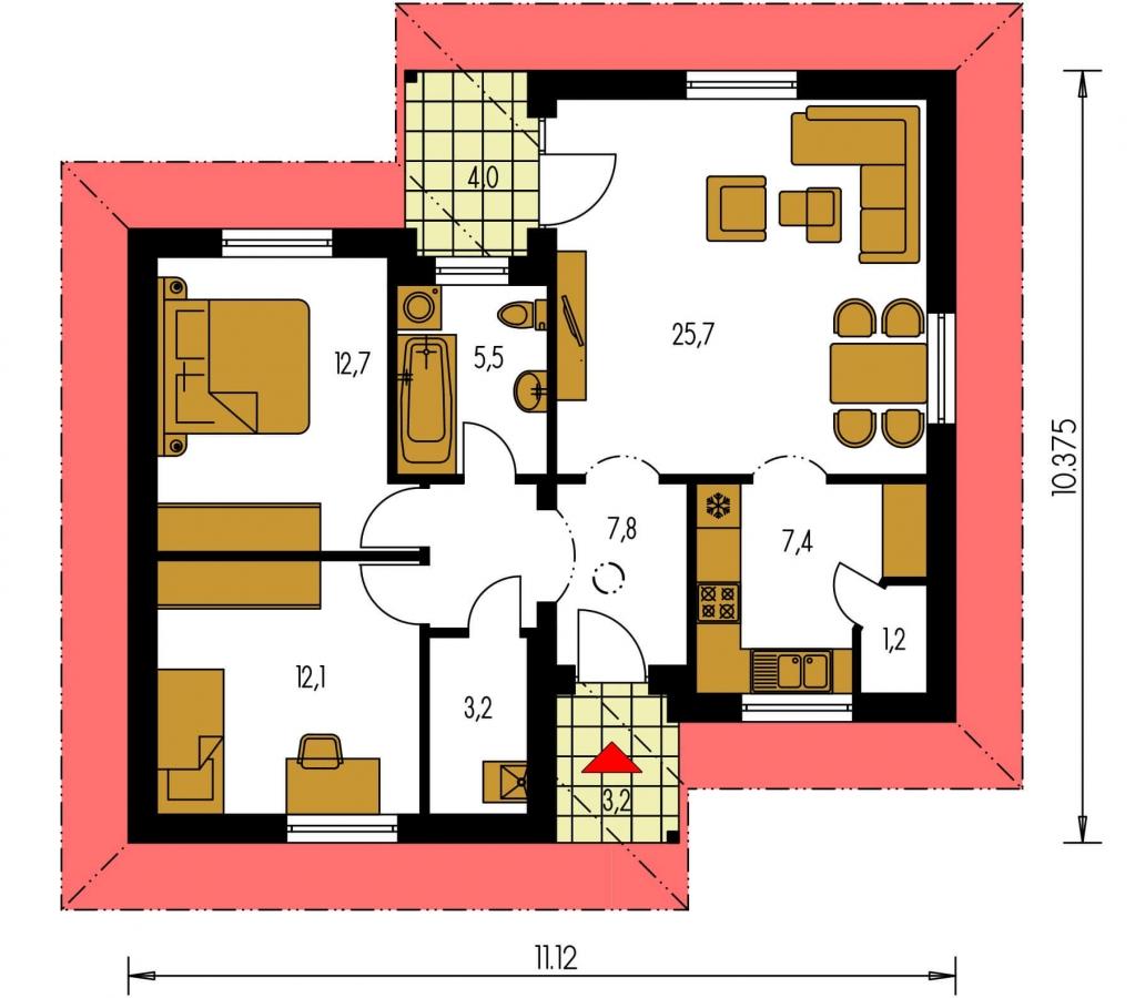 Pôdorys Prízemia - Dom s dobrou dispozíciou miestností