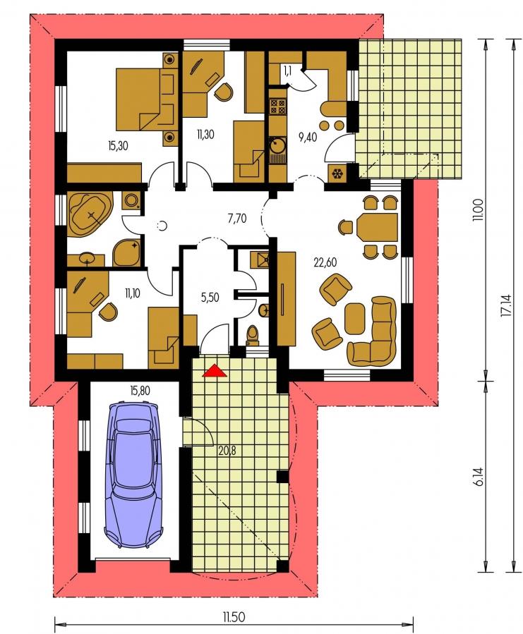 Pôdorys Prízemia - Dom s pristavanou garážou a krytým státím pred hlavným vchodom do rodinného domu.