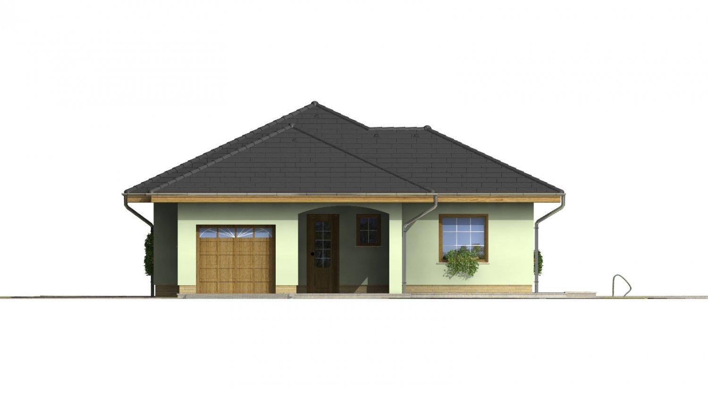 Pohľad 1. - Dom s pristavanou garážou a krytým státím pred hlavným vchodom do rodinného domu.