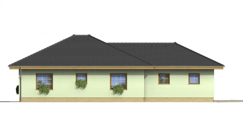 Pohľad 2. - Dom s pristavanou garážou a krytým státím pred hlavným vchodom do rodinného domu.
