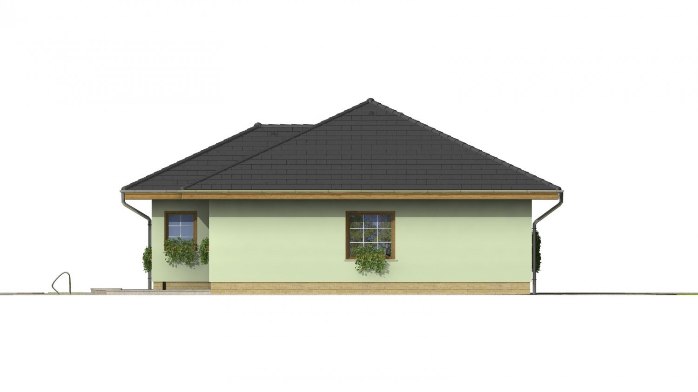 Pohľad 3. - Dom s pristavanou garážou a krytým státím pred hlavným vchodom do rodinného domu.