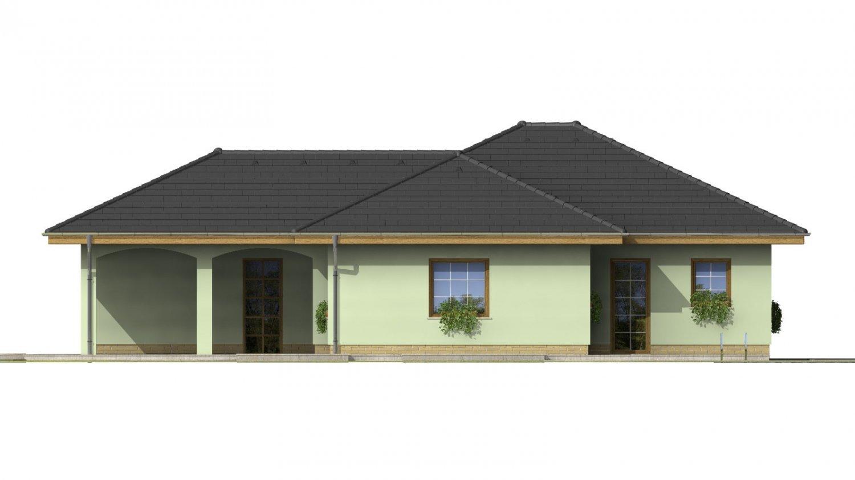 Pohľad 4. - Dom s pristavanou garážou a krytým státím pred hlavným vchodom do rodinného domu.