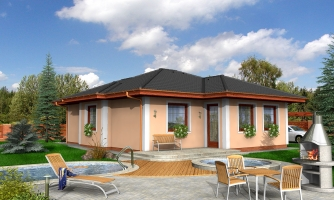Menší projekt domu s valbovou strechou.
