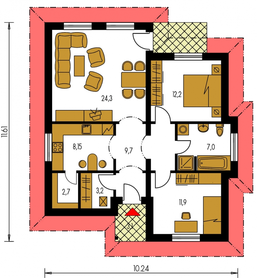 Pôdorys Prízemia - Dom s dobrou dispozíciou a valbovou strechou