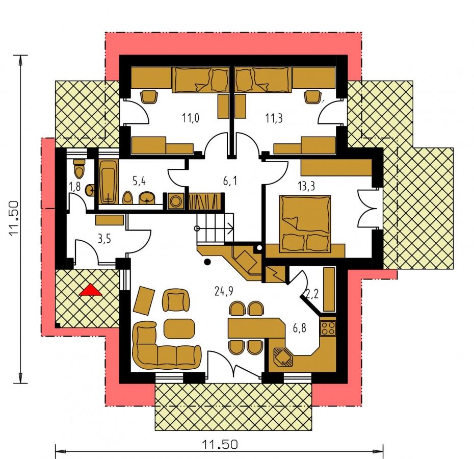 Pôdorys Prízemia - Rodinný dom do svahu, možnosť pristavať garáž, vhodný ako dvojdom.