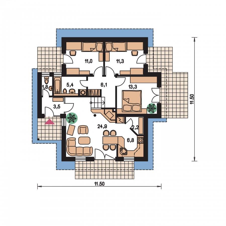 Pôdorys Prízemia - Dom do malého svahu, vhodný pre dvojdom