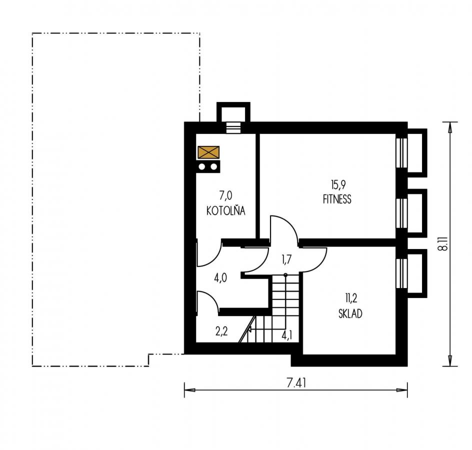 Pôdorys Poschodia - Rodinný dom do L s podpivničením