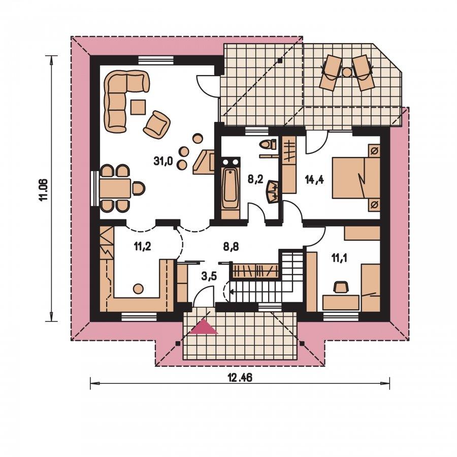Pôdorys Prízemia - Rodinný dom do L s podpivničením