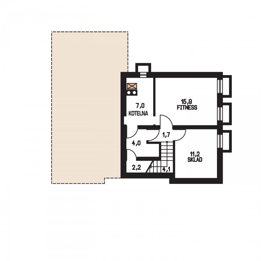 Pôdorys Suterénu - Rodinný dom do L s podpivničením