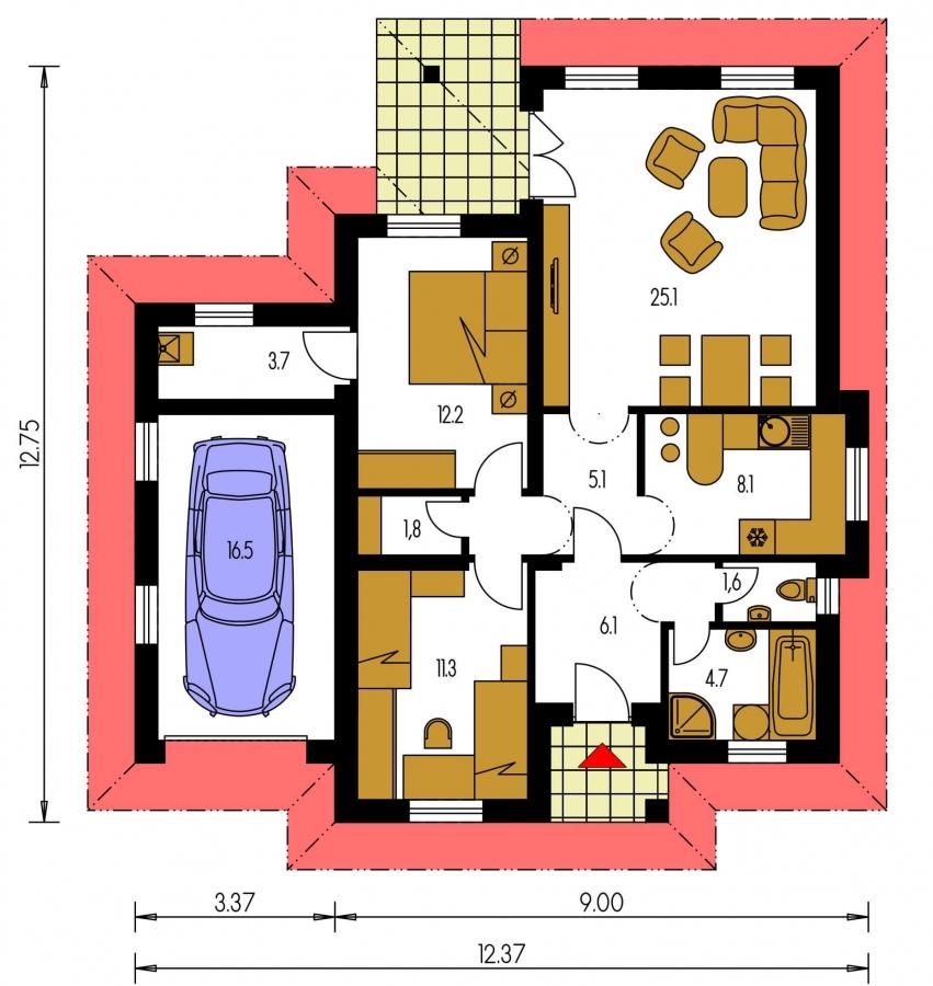 Pôdorys Prízemia - Zaujímavý rodinný dom s garážou