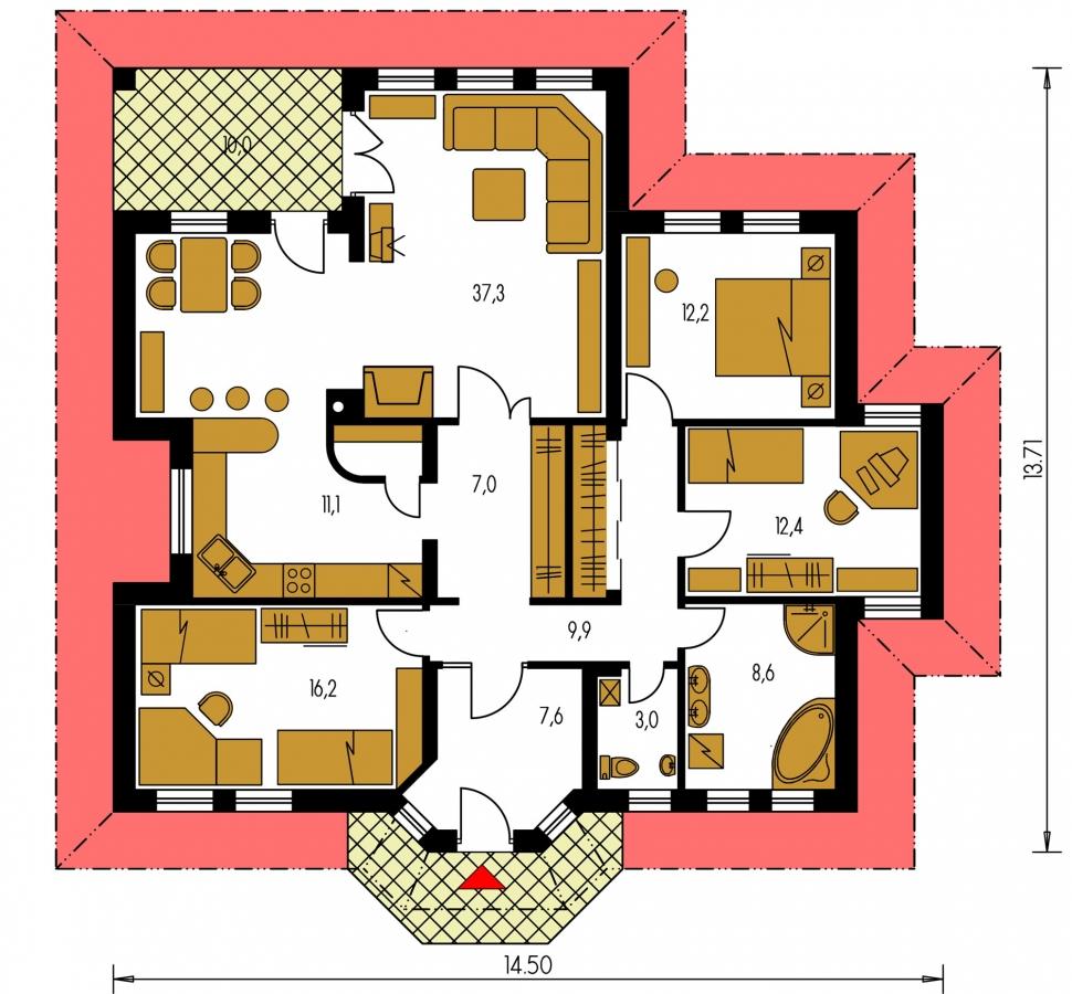 Pôdorys Prízemia - Členitejší bungalov pre 5 člennú rodinu.