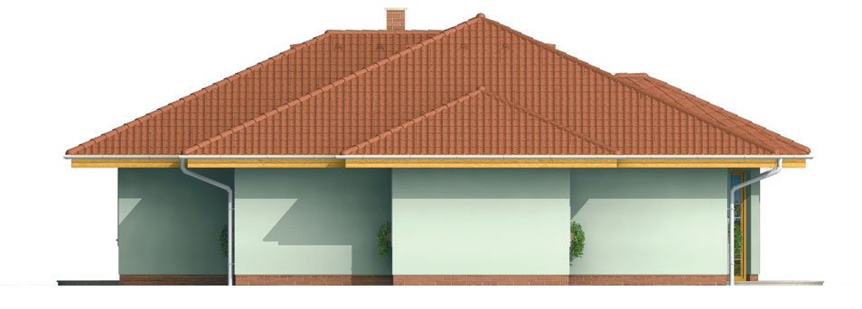 Pohľad 2. - Členitejší bungalov pre 5 člennú rodinu.