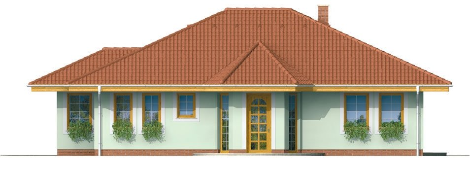 Pohľad 1. - Členitejší bungalov pre 5 člennú rodinu.