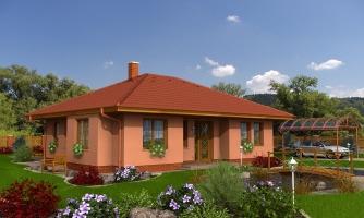 Pekný prízemný dom s valbovou strechou a oddelenou dennou a nočnou časťou, kuchyňa s obývacou izbou tvoria veľkopriestor