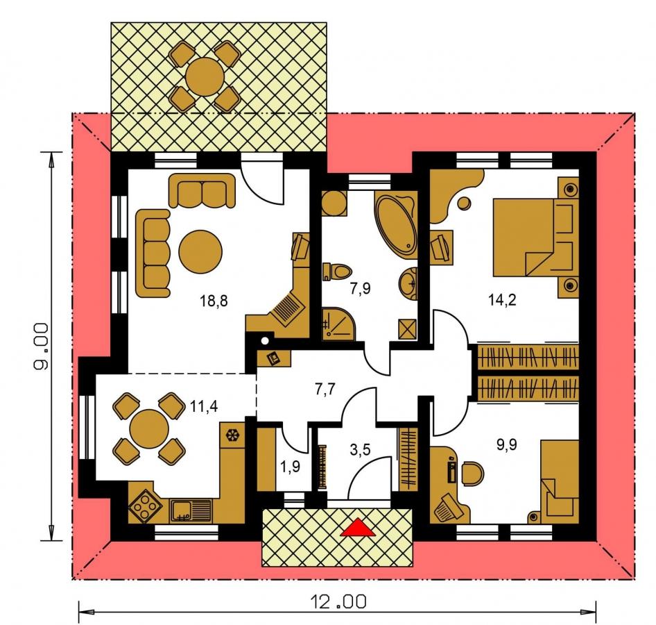 Pôdorys Prízemia - Pekný prízemný dom s valbovou strechou a oddelenou dennou a nočnou časťou. Kuchyňa s obývacou izbou tvoria veľkopriestor.