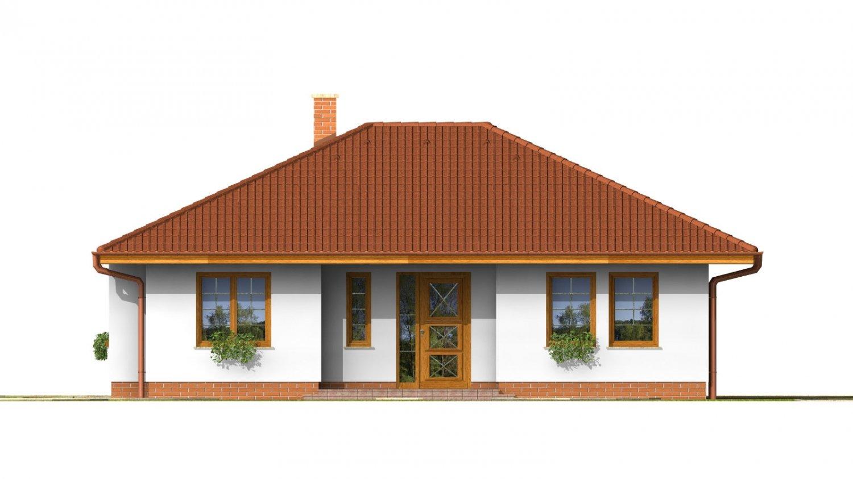 Pohľad 1. - Pekný prízemný dom s valbovou strechou a oddelenou dennou a nočnou časťou. Kuchyňa s obývacou izbou tvoria veľkopriestor.