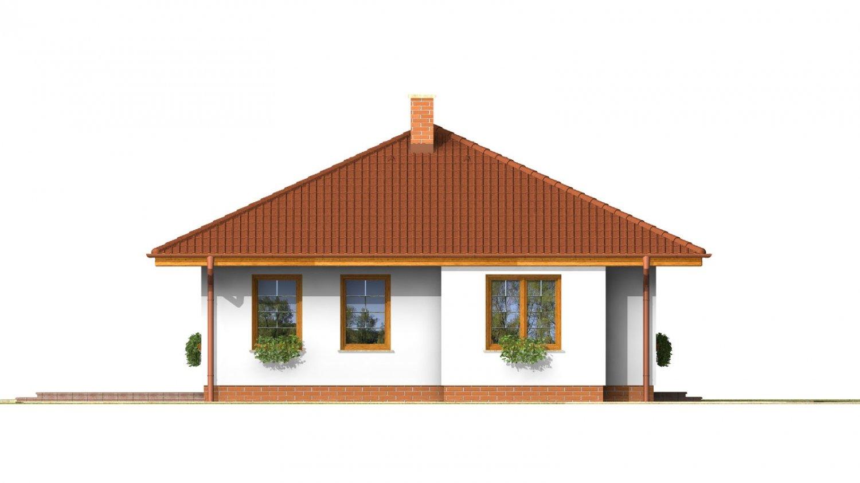 Pohľad 2. - Pekný prízemný dom s valbovou strechou a oddelenou dennou a nočnou časťou. Kuchyňa s obývacou izbou tvoria veľkopriestor.