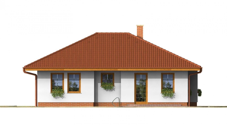 Pohľad 3. - Pekný prízemný dom s valbovou strechou a oddelenou dennou a nočnou časťou. Kuchyňa s obývacou izbou tvoria veľkopriestor.