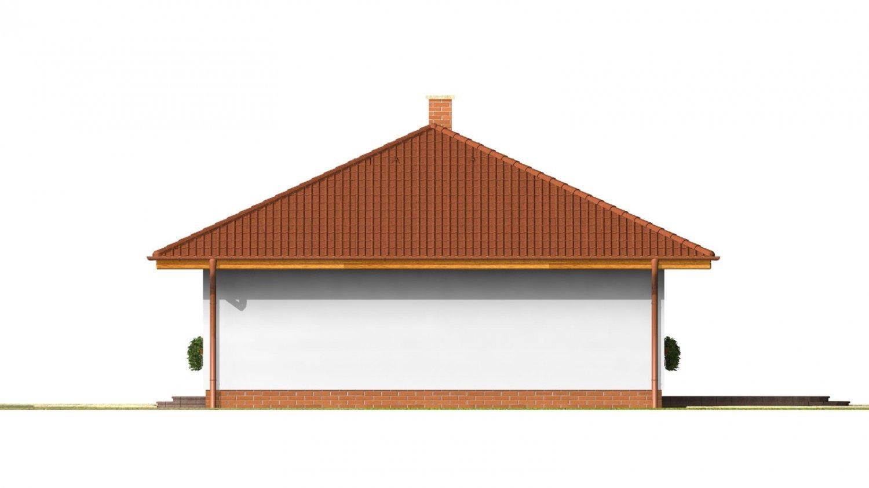 Pohľad 4. - Pekný prízemný dom s valbovou strechou a oddelenou dennou a nočnou časťou. Kuchyňa s obývacou izbou tvoria veľkopriestor.