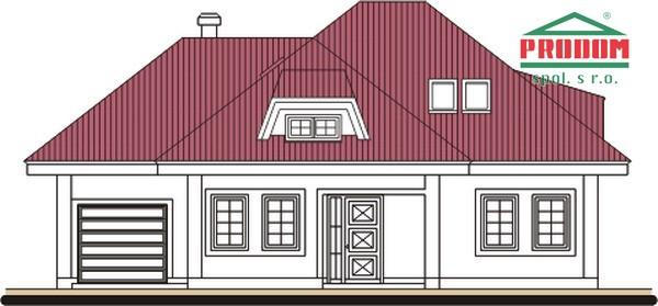 Pohľad 1. - Rodinný dom s podkrovím a garážou