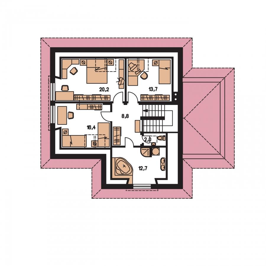 Pôdorys Poschodia - Rodinný dom s podkrovím a garážou