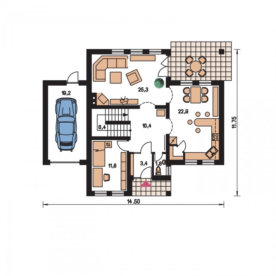 Pôdorys Prízemia - Rodinný dom s podkrovím a garážou