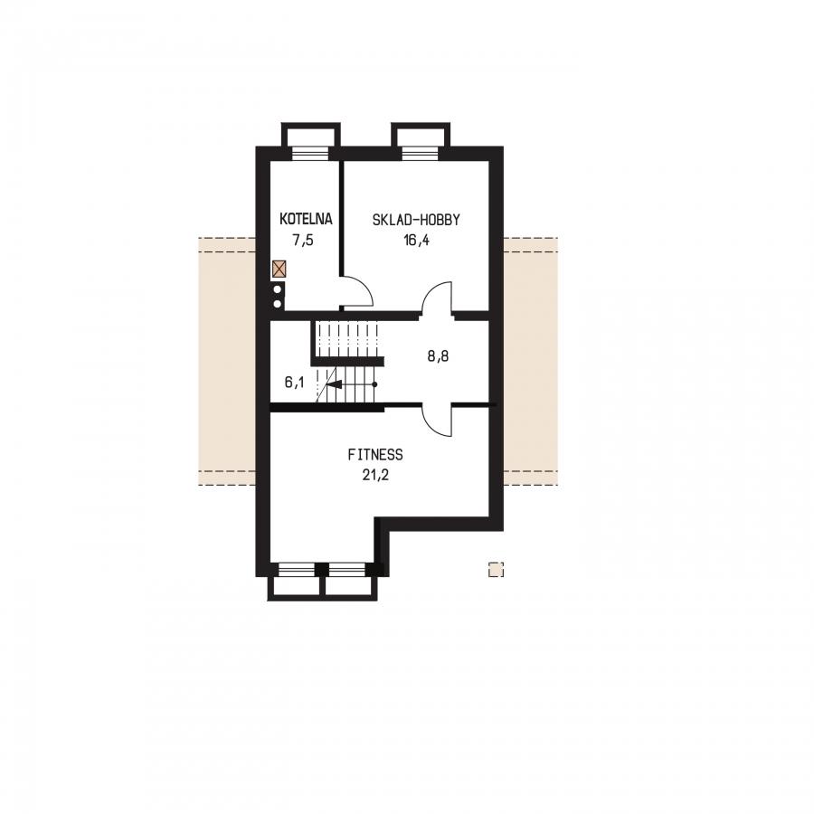 Pôdorys Suterénu - Rodinný dom s podkrovím a garážou