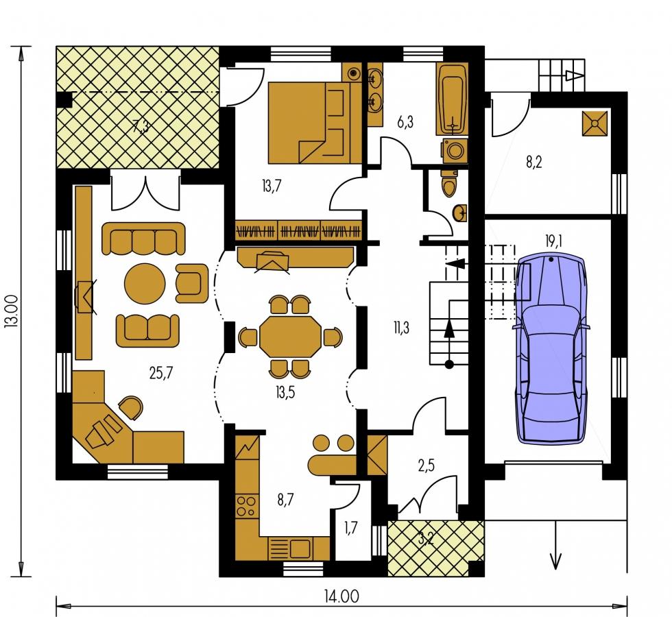 Pôdorys Prízemia - Dom s tromi úrovňami bývania