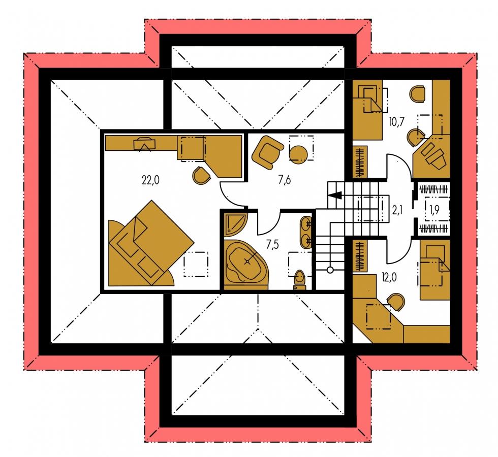 Pôdorys Poschodia - Dom s tromi úrovňami bývania.