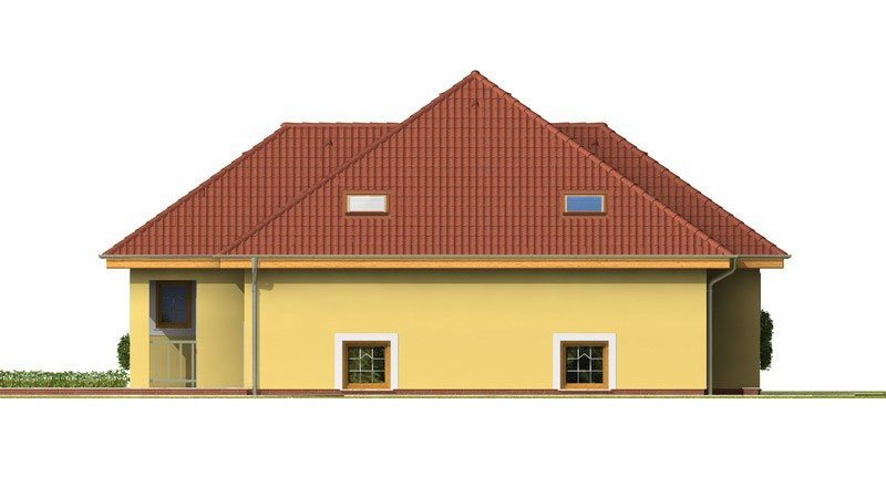 Pohľad 4. - Dom s tromi úrovňami bývania.