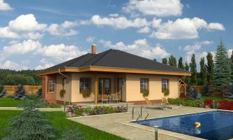 Nádherný rodinný dom s terasou s členitou strechou a oblúkovým jedálenským kútom.