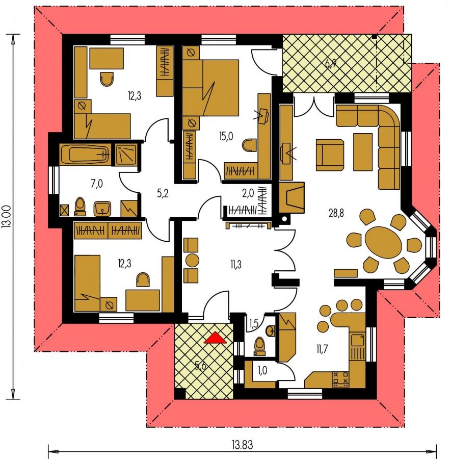 Pôdorys Prízemia - Nádherný rodinný dom s terasou s členitou strechou a oblúkovým jedálenským kútom.