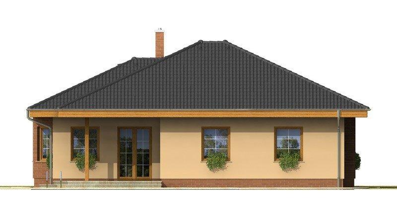 Pohľad 2. - Nádherný rodinný dom s terasou s členitou strechou a oblúkovým jedálenským kútom.