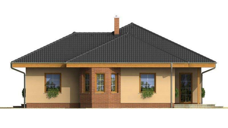 Pohľad 3. - Nádherný rodinný dom s terasou s členitou strechou a oblúkovým jedálenským kútom.