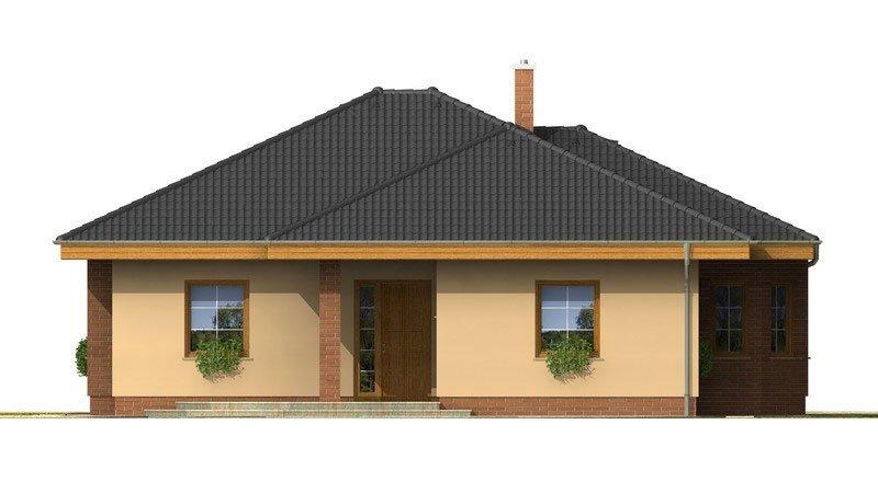 Pohľad 4. - Nádherný rodinný dom s terasou s členitou strechou a oblúkovým jedálenským kútom.