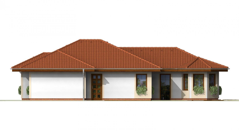 Pohľad 1. - Dom vhodný na užší pozemok s oblúkovou jedálňou.
