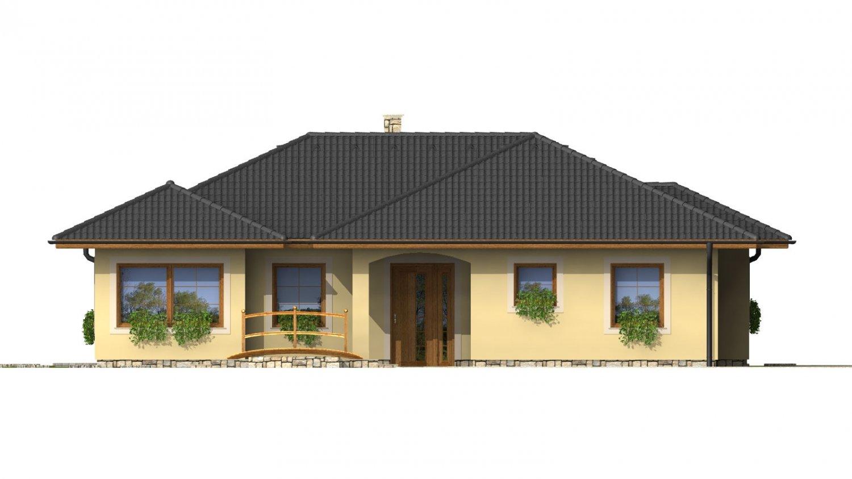 Pohľad 1. - Členitý projekt rodinného domu s oddelenou dennou a nočnou časťou.